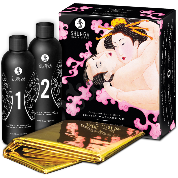 Shunga - Massage Gel strawberry & champagne